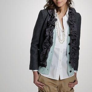 J. Crew wool pleated silk chimera jacket ruffles 4